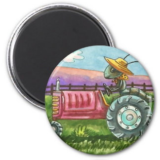 COUNTRY ANT FARM, BUG ON TRACTOR MAGNET Round