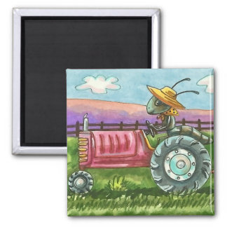 COUNTRY ANT FARM, BUG ON TRACTOR MAGNET Square
