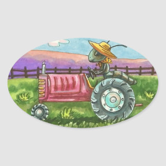 COUNTRY ANT FARM BUG ON TRACTOR STICKER Oval SHEET