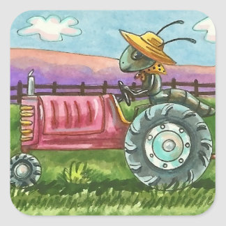 COUNTRY ANT FARM, BUG ON TRACTOR STICKERS Sq SHEET