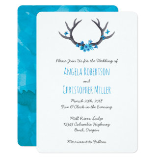 Country Antlers Blue Wedding Card