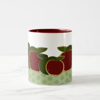 Country Apples (green border) Two-Tone Coffee Mug