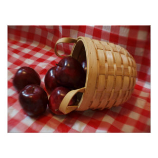 Country Apples on a Checkered Table Cloth Poster