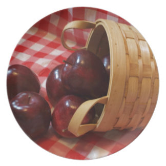 Country Apples on a Checkered Tablecloth Dinner Plate
