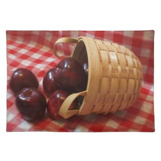 Country Apples on a Checkered Tablecloth Place Mats