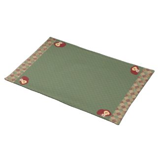 Country Apples Red and Green Checkered Placemat