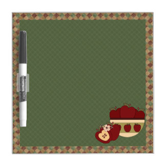 Country Apples Red Green Checkered Dry Erase Board