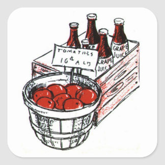 Country Art Tomatoes and Grape Juice Square Sticker
