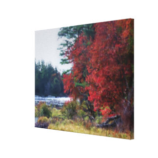 Country Autumn Foliage And Pond Canvas Print