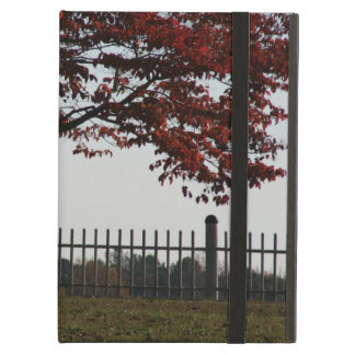 Country Autumn Scene Tree With Crimson Red Leaves iPad Case