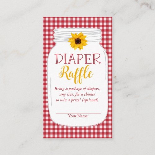 Country Baby BBQ Shower Diaper Raffle Card