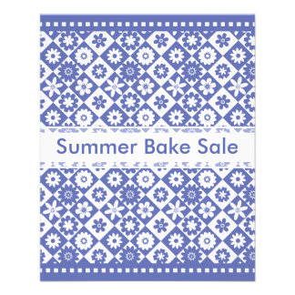 """Country Bake Sale Blue and White Annoucements 4.5"""" X 5.6"""" Flyer"""