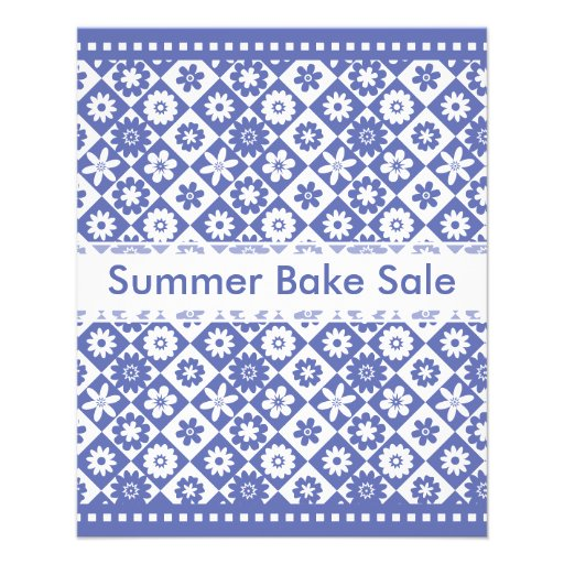 Country Bake Sale Blue and White Annoucements Flyers