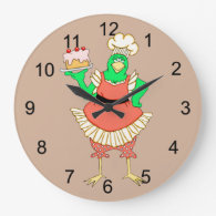 Country Baking Chicken Round Wall Clock