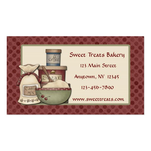 Country Baking, Maroon Dots Business Card (front side)