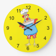 Country Baking Rooster Round Wall Clock