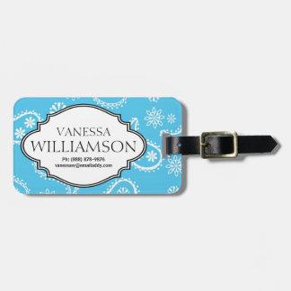 Country Bandana Style Blue & White Paisley Pattern Luggage Tags