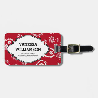 Country Bandana Style Red & White Paisley Pattern Tag For Bags