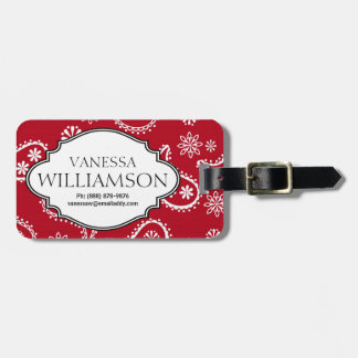 Country Bandana Style Red & White Paisley Pattern Travel Bag Tag
