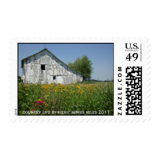 country barn & flowers postage stamp