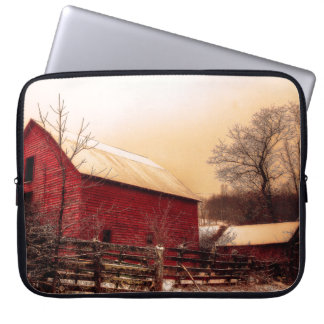 Country Barn In the Winter. Laptop Sleeve