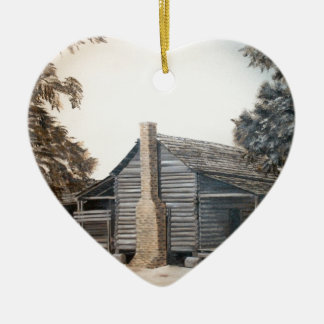 country barn log cabin oil painting ceramic ornament