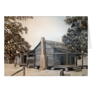 country barn log cabin oil painting greeting card