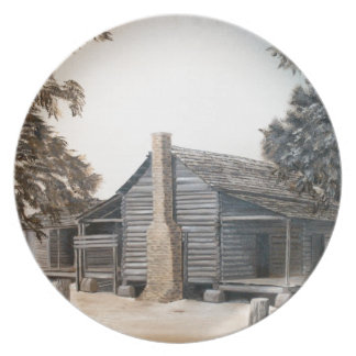 country barn log cabin oil painting melamine plate