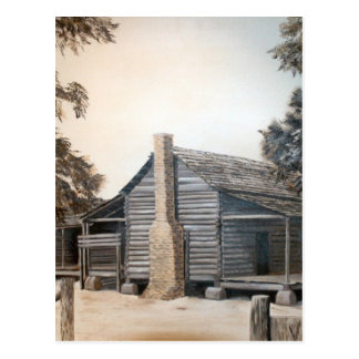 country barn log cabin oil painting postcard
