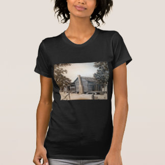 country barn log cabin oil painting T-Shirt
