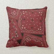 Country Barn Red Bandana Pattern MoJo Throw Pillow