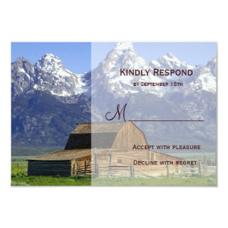 Country Barn Rocky Mountain Wedding RSVP Cards Custom Invitations
