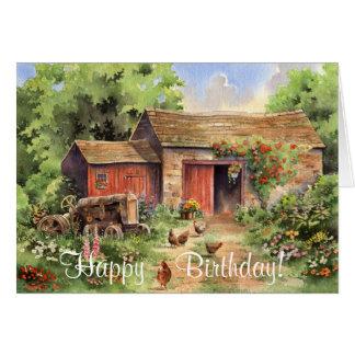 """Country Barn"" Rustic Barnyard Birthday Card"