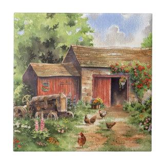 """Country Barn"" Rustic Barnyard Scene Ceramic Tile"