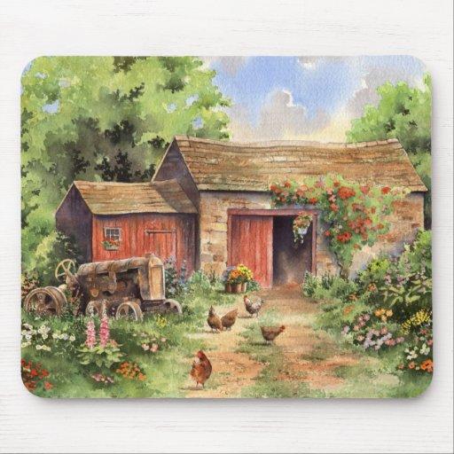 """Country Barn"" Rustic Barnyard Scene Mouse Pad"