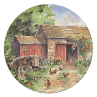 """Country Barn"" Rustic Barnyard Scene Dinner Plate"