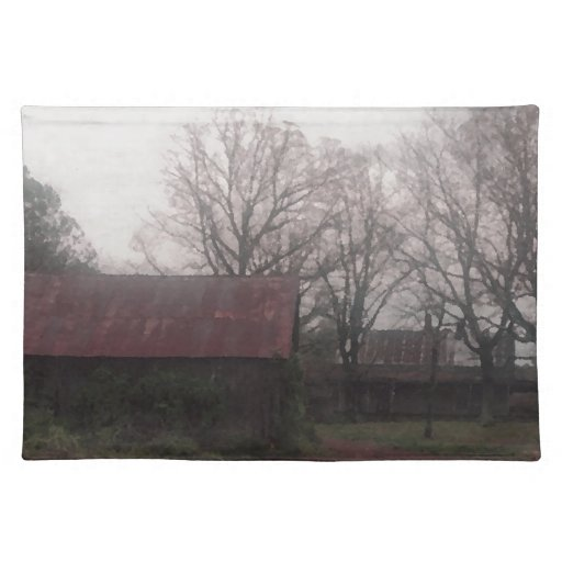 Country Barn Shed Winter Scene Autumn Americana Placemats