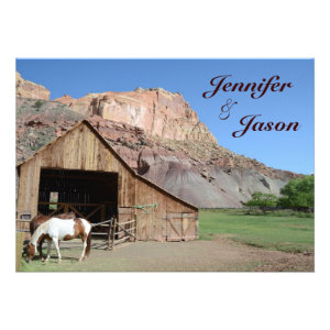 Country Barn Stable Horses Wedding Invitations