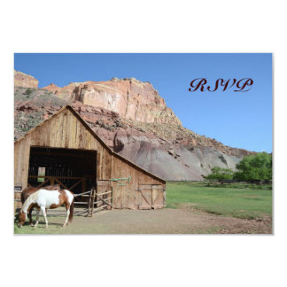 Country Barn Stable Horses Wedding RSVP Cards