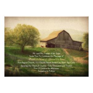 Country Barn Vintage Wedding Invitation