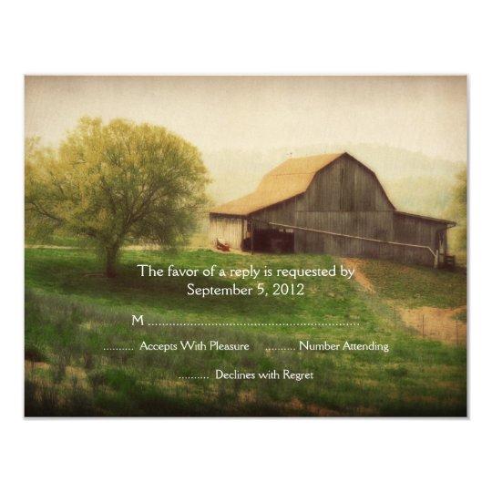 Country Barn Vintage Wedding RSVP Card