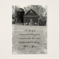 Country Barn Wedding Charity Favor Business Card at Zazzle