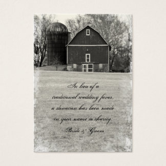 Country Barn Wedding Charity Favor Business Card