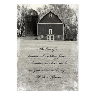 Country Barn Wedding Charity Favor Large Business Card