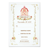 Country barn wedding response cards
