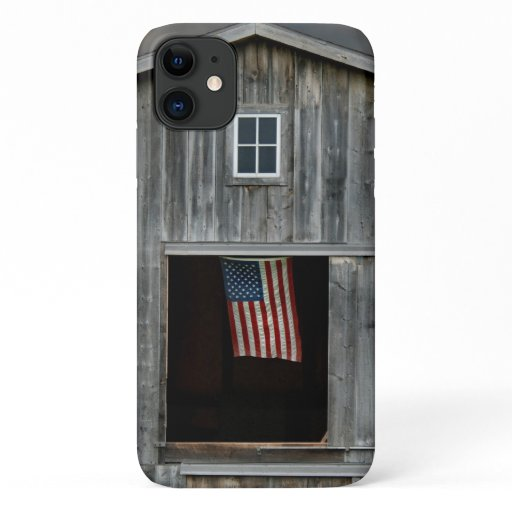 country barn with American flag iPhone 11 Case