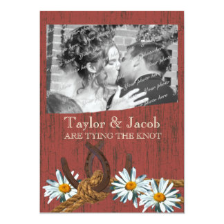 Country Barn Wood and Daisies Save the Date 5x7 Paper Invitation Card