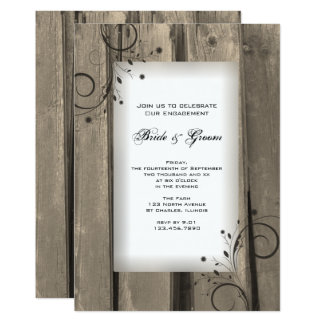 Country Barn Wood and Flowers Engagement Party Card