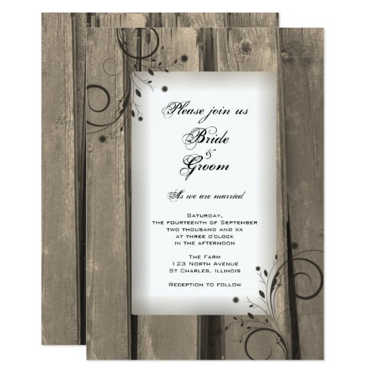 Country Barn Wood and Flowers Wedding Invitation