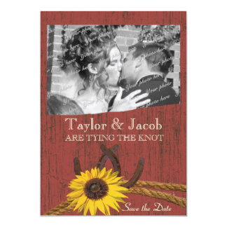 Country Barn Wood and Sunflower Save the Date 5x7 Paper Invitation Card